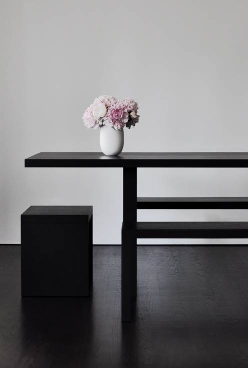 *styling, pink peonies, dining table, wooden furniture, product design*