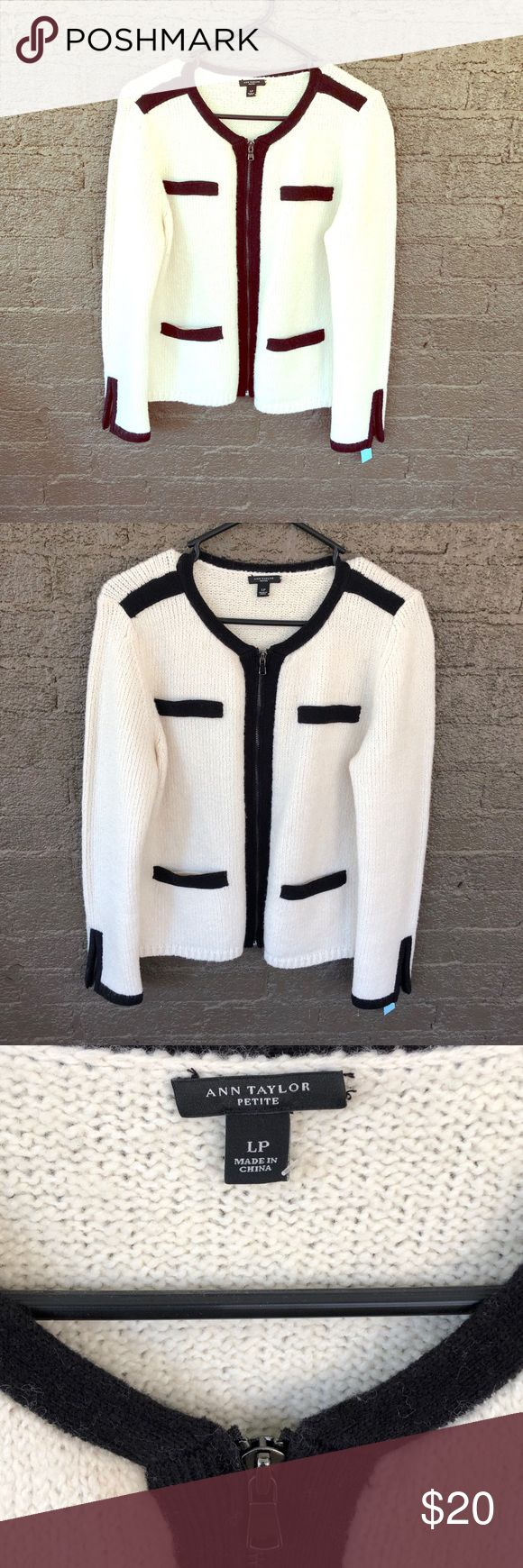 Ann Taylor Petite Cardigan with Zipper Great condition, hardly worn zipper cardigan. Size L Petite. White with black trim. Ann Taylor Sweaters Cardigans