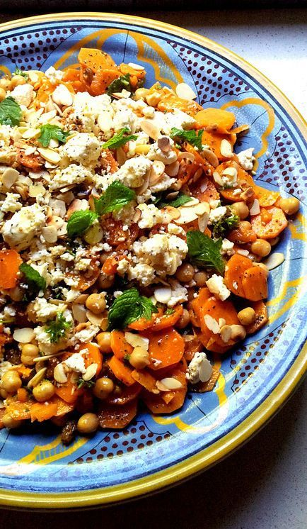 Traditional Moroccan-Spiced Carrot and Chickpea Salad with Mint & Almonds: a versatile #vege..., ,