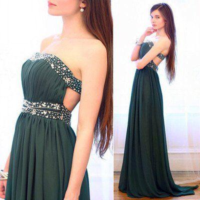 teal prom Dress,charming Prom Dress,long prom dress,strapless prom dress,evening…