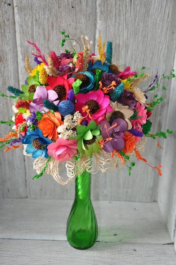 Wooden rainbow flowers