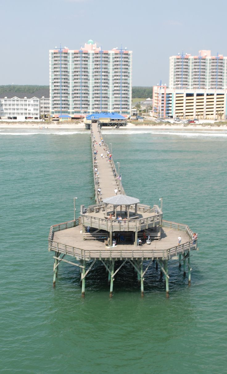 Stayed here on our 5 year anniversary vacation. :) A beautiful view of the Prince Resort at the Cherry Grove Pier as seen from the water in North Myrtle Beach, South Carolina.
