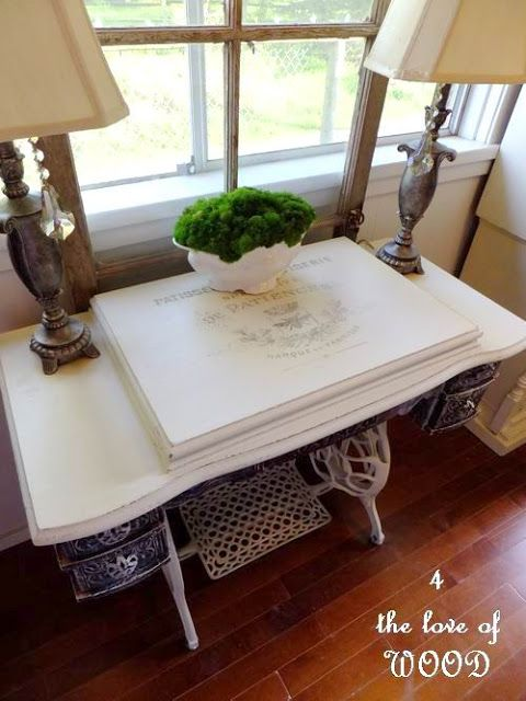 4 the love of wood: WHITE SEWING MACHINE - repurposed treadle sewing cabinet