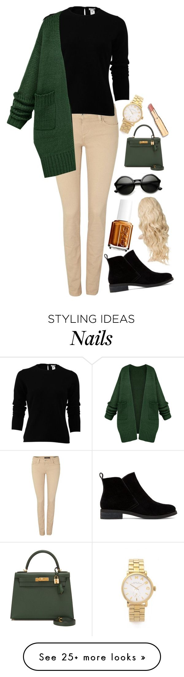 """Green cardigan"" by taylahjordan on Polyvore featuring Marc by Marc Jacobs, Salsa, Lucky Brand, Oscar de la Renta, Hermès and Essie"