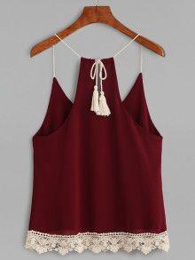 Burgundy Lace Up Fringe Crochet Trim Cami Top