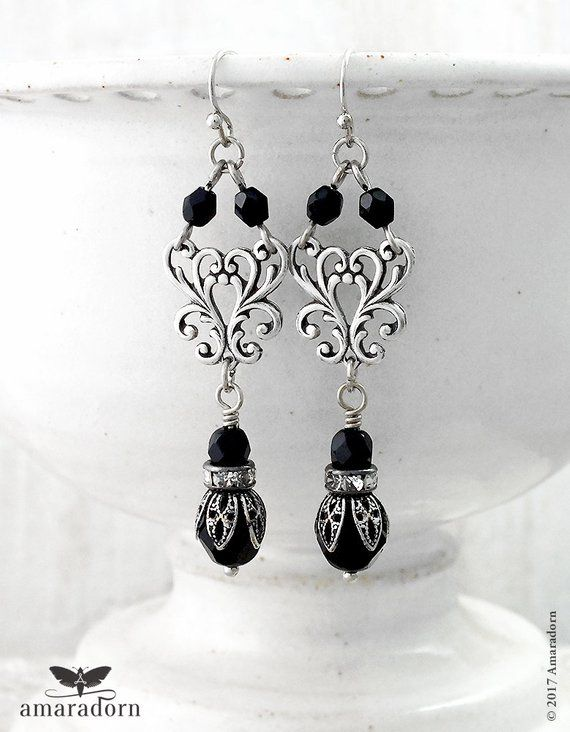 Rococo Style Silver And Black Earrings 18th Century Goth Etsy