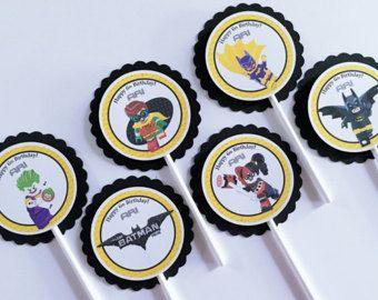Conjunto de 12 Toppers de Cupcake personalizado Lego Batman, fiesta de cumpleaños de Lego Batman, Lego Batman cumpleaños, fiesta de Lego Batman, Lego Batman