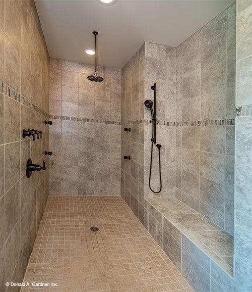 Huge walk-in shower in the master bathroom. The Sylvan home plan 1321. #WeDesignDreams
