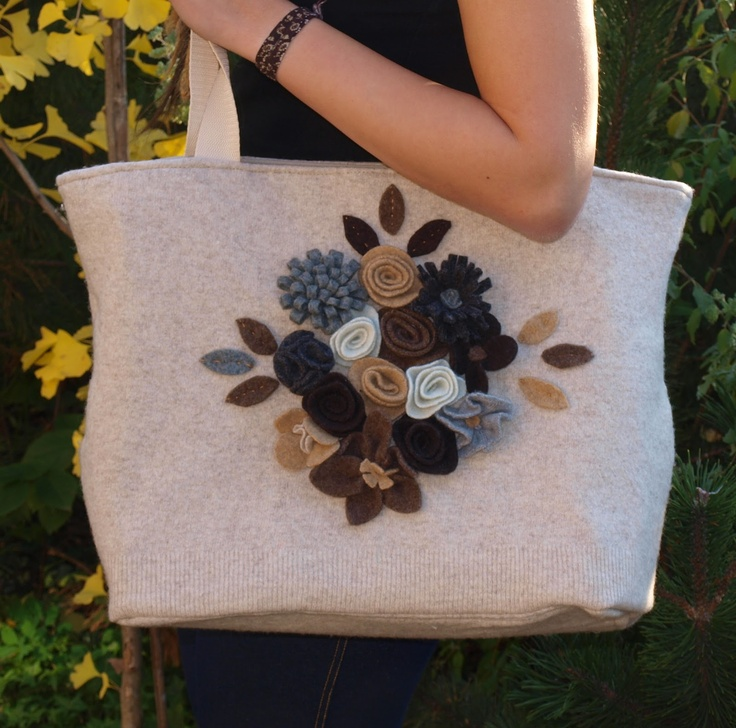 bag from felted sweater