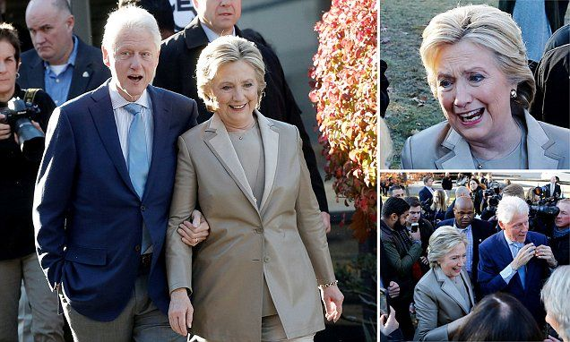 NOV 8, 2016. Clinton was mobbed by fellow voters when she arrived at her polling place around 8 a.m. today in Chappaqua.  Clinton brought along her husband, former President Bill Clinton as she hugged and interacted with members of the crowd. The early riser on the Democratic team was Virginia Sen. Tim Kaine, Clinton's running mate, who got in line to vote at 5:50 a.m.  Daughter Chelsea Clinton was spotted with her husband and two kids in New York City today, sporting an 'I Voted' sticker.