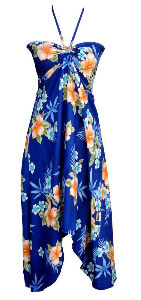 Sexy Tropical Hawaiian Halter Butterfly Party Cruise Luau Hibiscus Dress Blue