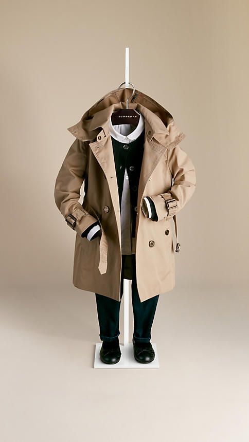 Cotton Twill Detachable Hood Trench Coat | Burberry