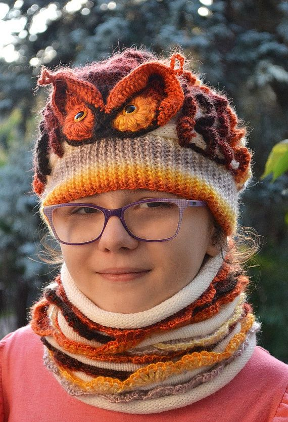 Set cap owl and Cowl Crocheted knitted neckwarmer by DosiakStyle
