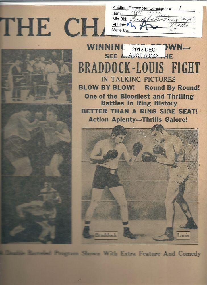 Vintage JOE LOUIS Boxing BROADSIDE 9x12 vs. BRADDOCK-   AS FOUND - **READ*