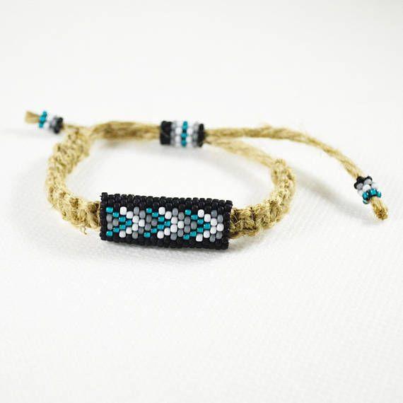 Natural Linen men bracelet Ethnic bracelets Teal black white