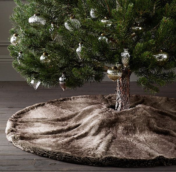 Luxe Faux Fur Tree Skirt- Big Lots sells a throw similar to this, could be transformed easily !