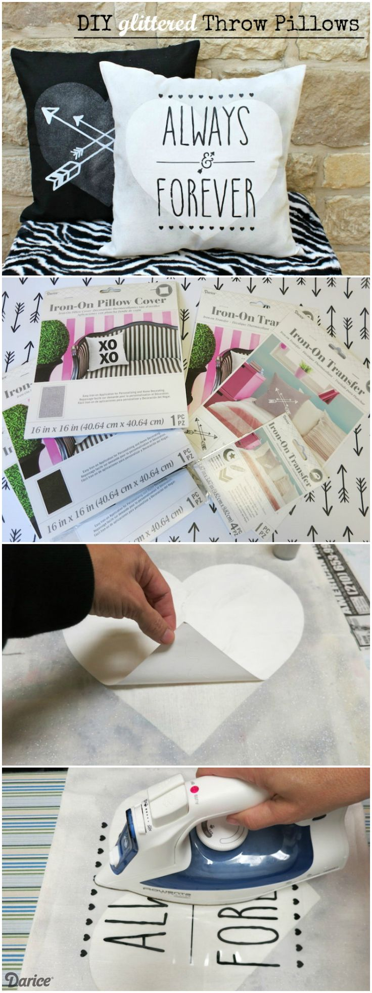 Accent pillows are an easy way to refresh a room's decor! These DIY throw pillows use glitter paint and the new iron on pillow transfers from Darice.