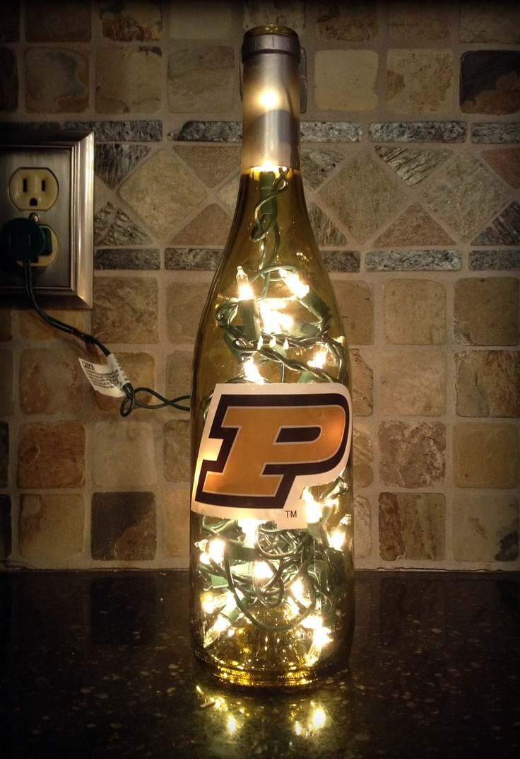 Purdue University Boilermaker Gift Wine Lamp by EcoAcre on Etsy, $16.00