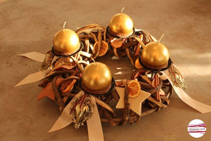 """Adventskranz - Adventskranz """"Golden Vintage Christmas"""" - ein Designerstück von CinnamonSwirl bei DaWanda"""