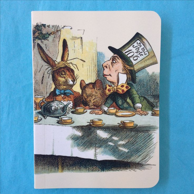 Mad Hatter's Tea Party notebook, featuring John Tenniel's 1865 illustration.
