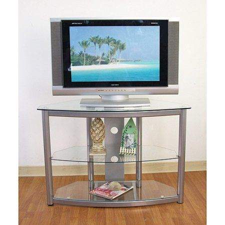 Metal and Glass Silver TV Stand, for TVs up to 42 inch