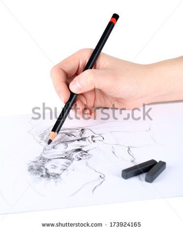 Drawing picture of drawing charcoal isolated on white - stock photo
