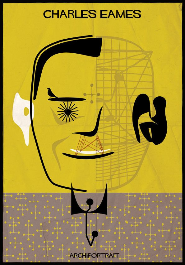 Portraits Of Architects, Drawn In The Styles Of Their Most Famous Works / Eames