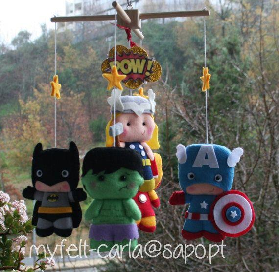 Super Hero Nursery Decor Super Heroes Mobile by feltcutemobile