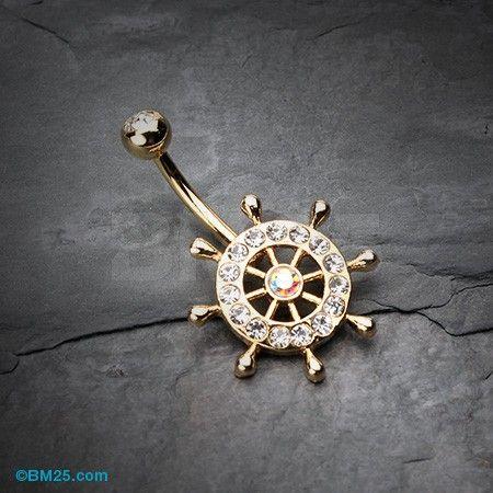 Golden Sparkle Anchor Wheel Belly Button Ring