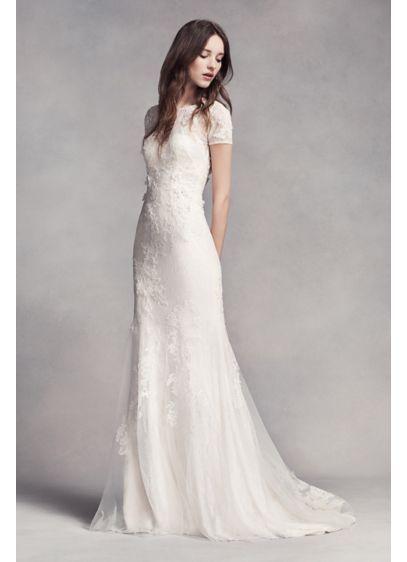 White by Vera Wang Cap Sleeve Petite Wedding Dress Style 7VW351312, Ivory, 12P