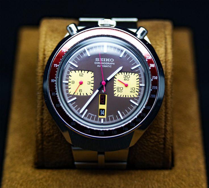 VINTAGE SEIKO BULLHEAD 6138-0040 CHRONOGRAPH BROWN DIAL AUTOMATIC WATCH in Bijoux, montres, Montres, Montres classiques | eBay
