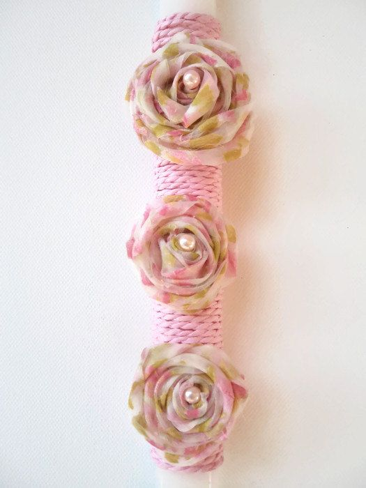 Greek Easter candle (lambada) - Organza flowers