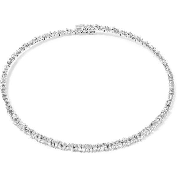 Suzanne Kalan 18-karat white gold diamond choker ($20,490) ❤ liked on Polyvore featuring jewelry, necklaces, white gold, druzy jewelry, diamond choker, diamond jewellery, 18 karat gold necklace and diamond choker necklace