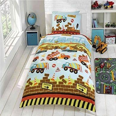 blue yellow bricks trucks bedding for boys cribtoddler twin duvet comforter cover set