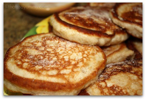 Jamaican Banana Fritters: So easy and I used almond milk instead of cow's milk so that Kiran could have them. They taste a lot like the banana bread version of pancakes. Delicious!