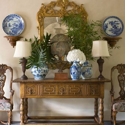 Entry Hall: Vignettes, Interior, Decorating Ideas, House, Entry Hall, Design, Blue And White, Room
