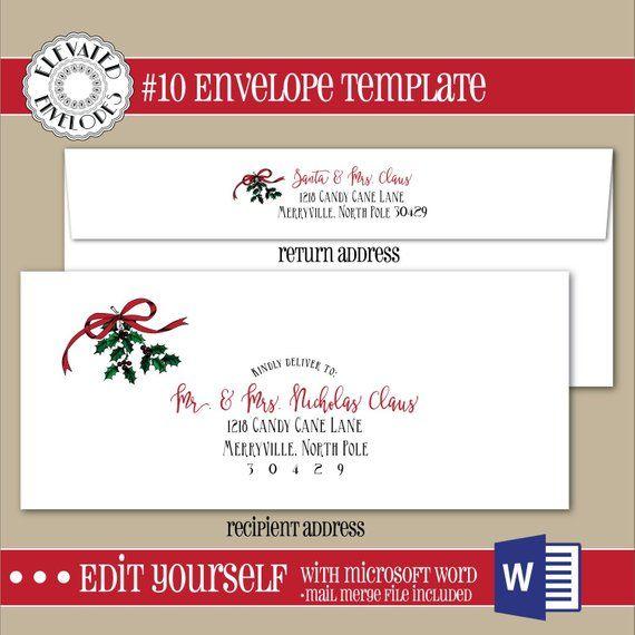 Editable Christmas Envelope Template10 Etsy Envelope Template Printed Envelopes Envelope