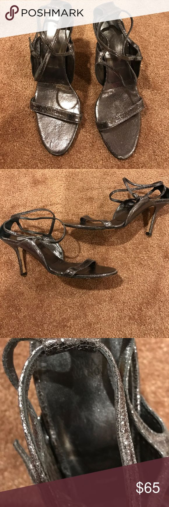 Vera wang strappy pewter silver sandal heels Totally stunning heels! Formal or casual.. please note these are Vera Wang not Princess by Vera wang. Made in Italy. Size 39 worn a handful of times Vera Wang Shoes Sandals