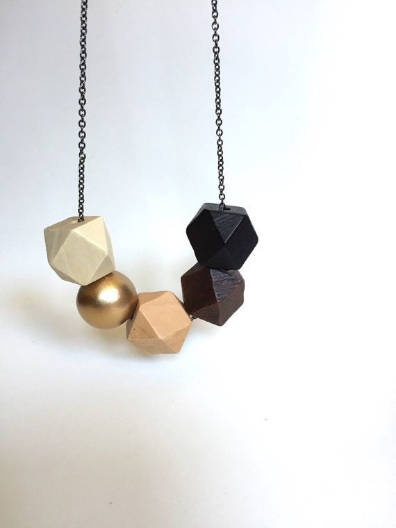 Faceted Geometric Necklace 5 Wooden Beads with Gold by totinette