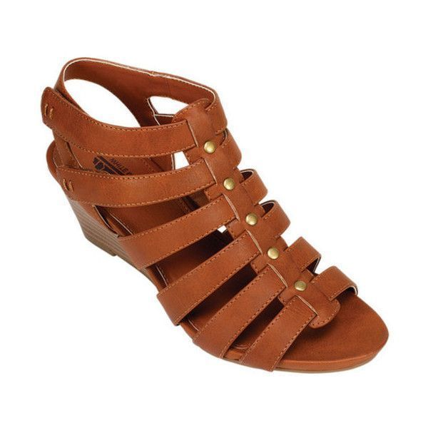 Women's Cliffs by White Mountain Vivaldi Studded Caged Sandal ($29) ❤ liked on Polyvore featuring shoes, sandals, casual, heels, caged heel sandals, strappy high heel sandals, ankle strap sandals, strappy wedge sandals and gladiator sandal #sandalsheelscasual #gladiatorsandals