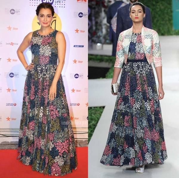 Dia Mirza in Varun Bahl's Midnight Blue Floral Embroidered Gown and Bolero Set.  #varunbahl #diamirza #celebstyle #celebcloset #couture #contemporarywear #indianfashion #indiandesigners #shopnow #perniaspopupshop #happyshopping
