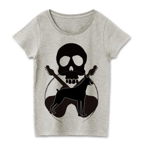 ロックなドーベルマンTシャツ | ギターとスカルとロックなパンクなレディースデザインTシャツ★ ロックと音楽好きにはたまらないTシャツです。 #ドーベルマン #Tシャツ