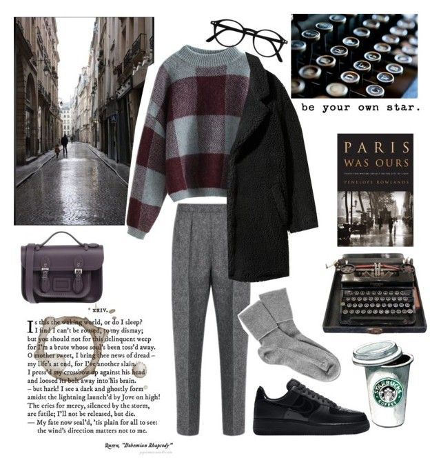 """Без названия #177"" by milanabanana ❤ liked on Polyvore featuring Pottery Barn, NIKE, Maison Margiela, The Cambridge Satchel Company and Black"