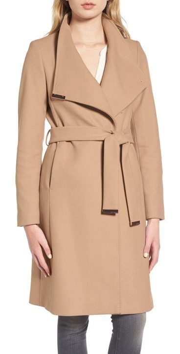 wool blend long wrap coat by Ted Baker. Gleaming hardware polishes the elegant look of a long wrap coat cut from a cashmere-infused wool blend and topped with a face-framing funnel neckline. Style Name: Ted Baker London Wool Blend Long Wrap Coat. Style Number: 5368413. Availab... #tedbaker #coats #outerwear