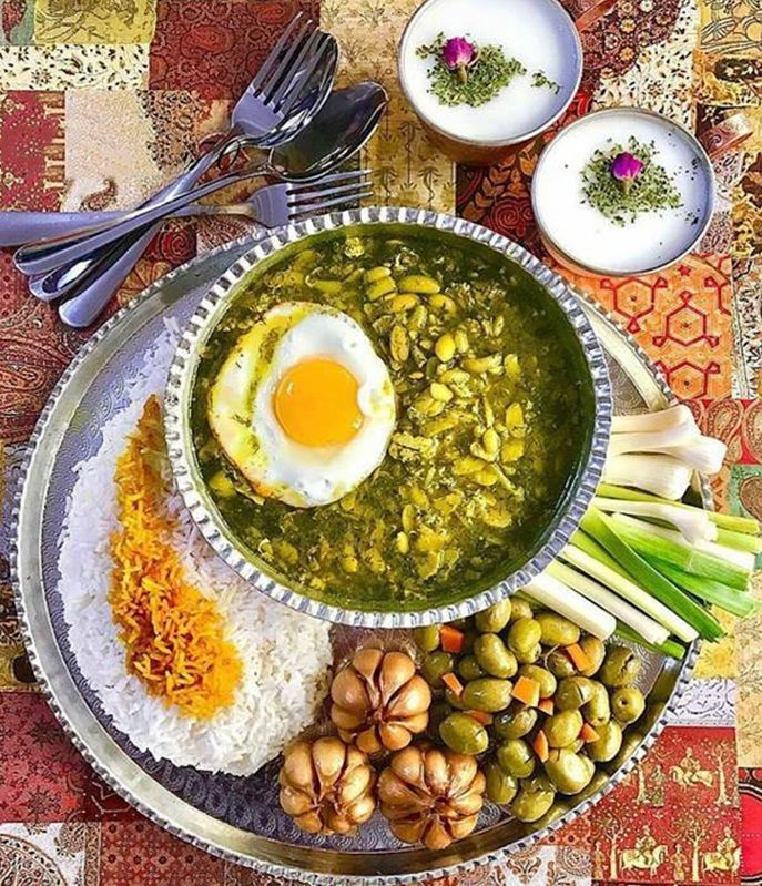 Enjoy a local Iranian dish belonging to the north of country, Gilan Province. It's called Baghali Ghatogh (Lima beans with eggs and dill)