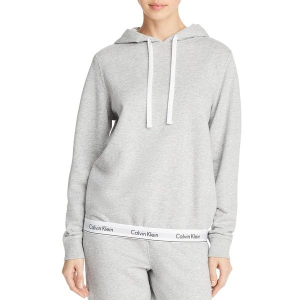 Calvin Klein Modern Cotton Lounge Hoodie ($64) ❤ liked on Polyvore featuring tops, hoodies, heather gray, cotton hooded sweatshirt, calvin klein, hooded pullover, hoodie top and cotton hoodies