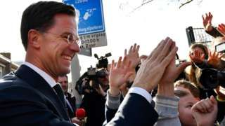 Dutch election: PM Rutte sees off anti-EU Wilders challenge