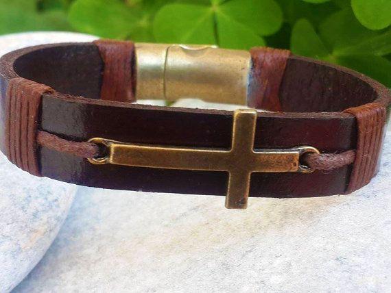 Mens Leather Bracelet Cross Bracelet Men's Leather Cross