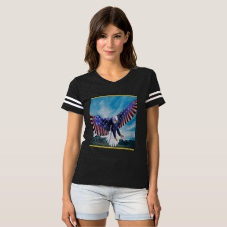 American flag Eagle flying in the sky gold foil tap/click to personalize or buy right now! a custom women's short sleeve black sport t shirt .comes in 158 different styles #baldeagles #patrioticdesigns #Americanflag #4thOfJuly