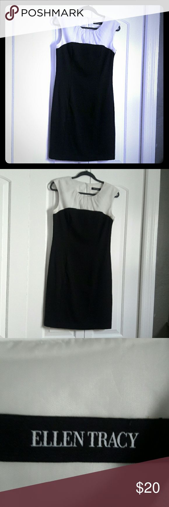 """ELLEN TRACY career dress, sz 10, EUC Great bi-color sheath dress vy ELLEN TRACY, only worn once ir twice. Soft black knit with fully lined crinkled chiffon in ivory on top. Side zip and button in back of neck. Office/ church-appropriate, very flattering on, in great shape. Will fit sz 8 and 10. Measures 18.5 across bust unstretched, 16"""" across waist, 37"""" long. Ships from a smoke-free, expertly dog-supervised home. :-) Top-rated seller, Top10% seller & fast shipper, so buy with confidence…"""